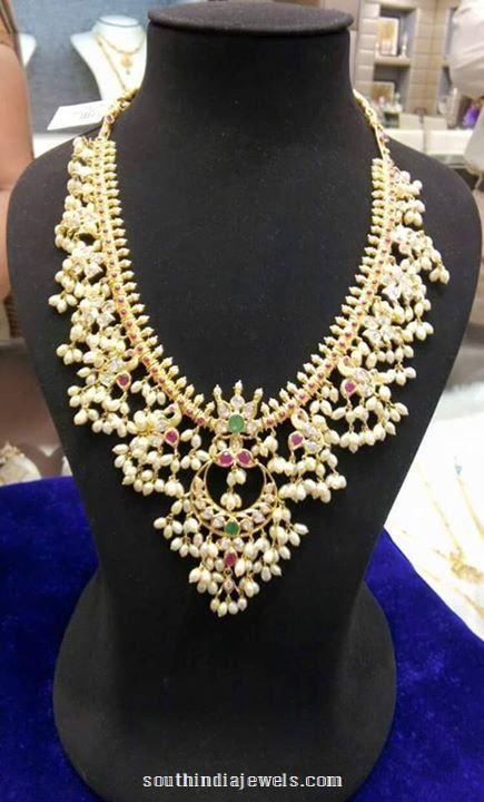 Gold Guttapusalau Necklace from Sree Harsha Jewellers ...
