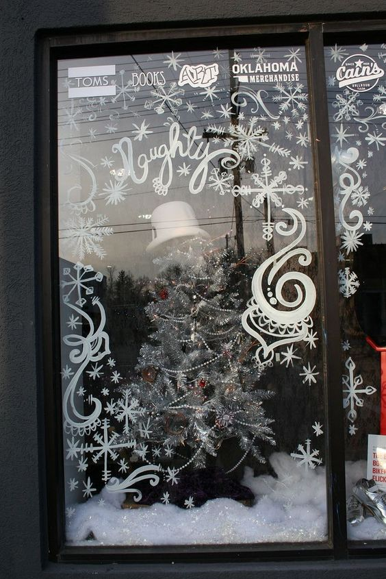 snowflake window drawings - use liquid chalk markers for fine details like this!