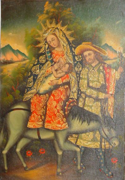 San José custodia y dirige la Sagrada Familia desde Nazaret a Egipto. Cuzco School of Painting