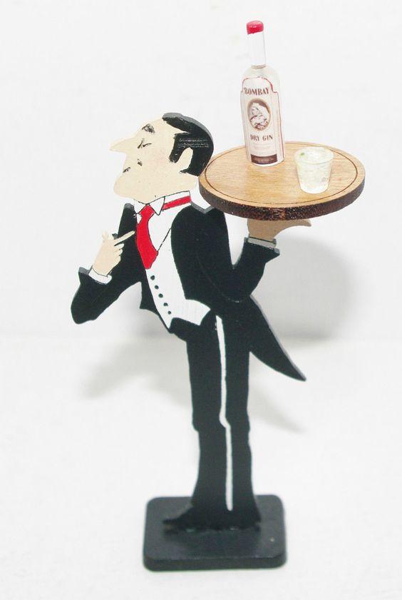 Brooke Tucker JEEVES BUTLER WAITER DRINK SERVER Miniature Dollhouse Display 1:12