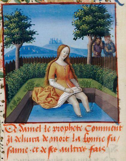 Fleur des histoires, Susanna and the Elders - Jean Mansel 15th century illumination 18cm X 14cm Bibliothèque Nationale de France, Western manuscripts