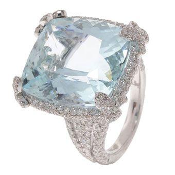 18k white gold and diamond Fleur ring with aquamarine center stone, JudeFrances