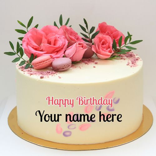 Beautiful Name Birthday Cake With Real Pink Roses Decoration Create Cake With Name Print Birthday Cake Writing Happy Birthday Cake Images Happy Birthday Cakes