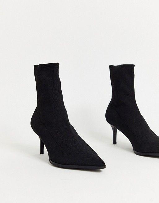 Asos Design Wide Fit Recharge Kitten Heel Sock Boots In Black Asos Socks And Heels Boots Kitten Heels