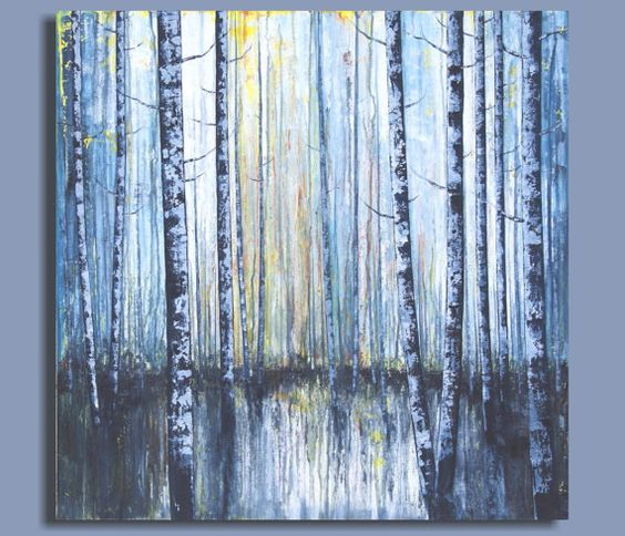 abstract BIRCH TREE painting, abstract painting of birch ...
