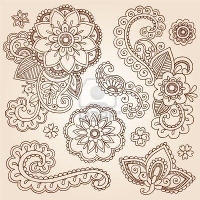 Henna Paisley Mandala Flowers Mehndi Tattoo Doodles Set Stock Photo