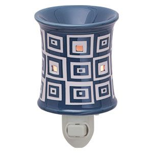 Wonky Plug-In Scentsy Warmer - Enjoy the haphazard whimsy of a modern quilt with Wonky, a high-gloss, steely blue warmer featuring half-cut squares to let soft light shine in small spaces.