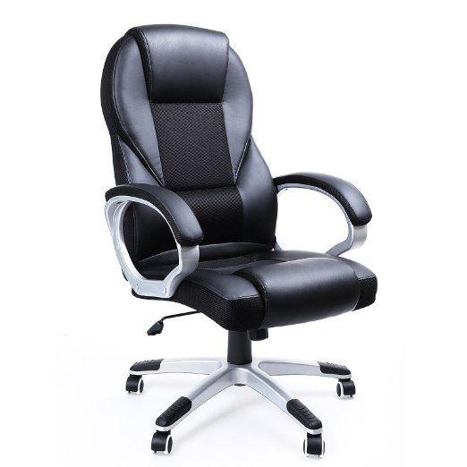 Songmics noir Chaise Fauteuil de bureau Chaise pour ordinateur hauteur réglable…