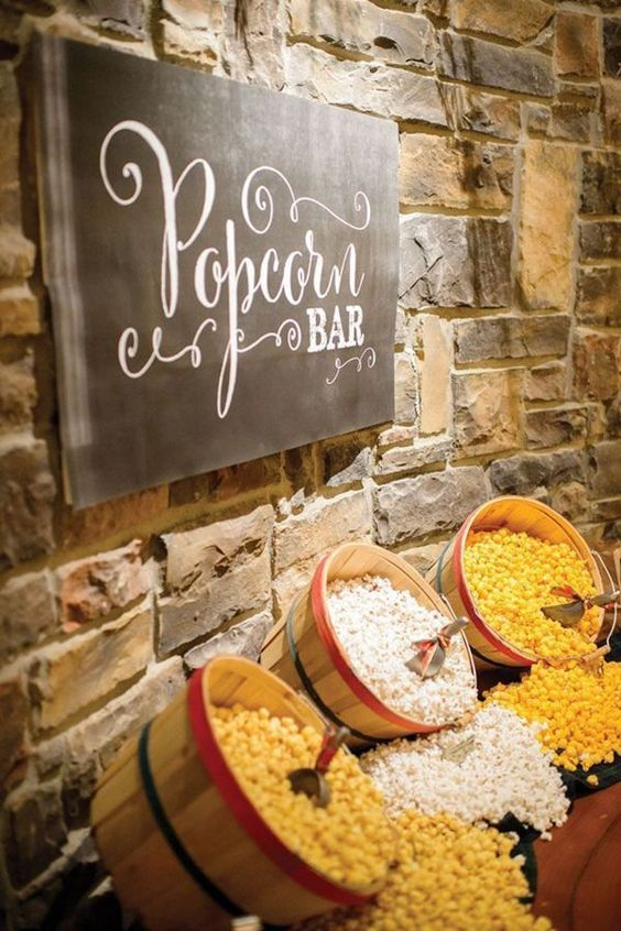 popcorn bar for country rustic themed wedding ideas: