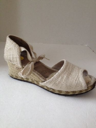 UGG Shoes Womens Size 7 Wedge Heel Espadrille Ankle Lace Open Toe Faux Fur Lined