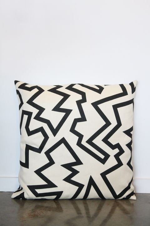 Soften the Blow:  Black on White Zigzag pillow by Sunshine and Shadow