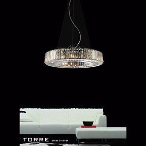 Diyas IL30079 Torre Polished Chrome Nine Light Pendant