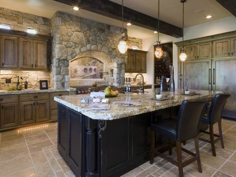 Natural Wood Cabinets Black Island Stone I 39 D Dark Stain Not Paint The Black Island Maybe In