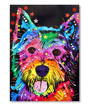 A blank wall is just a canvas waiting to be adorned with this vibrant print. Whimsical and bright, this contemporary piece lets furry friends know they're always welcome.