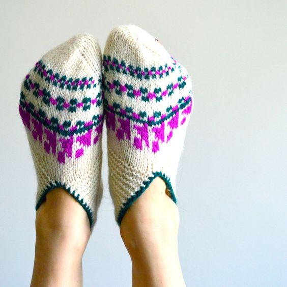 Turkish knit slipper socks. $24.00, via Etsy.