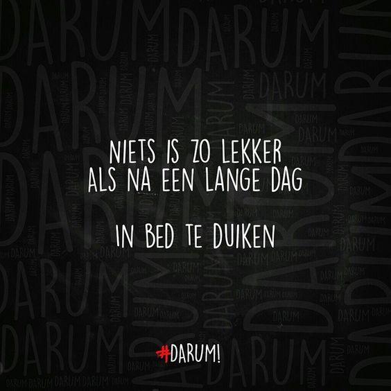 Niets is zo lekker als na een lange dag in bed te duiken. #darum #quote #tekst #humor #herkenbaar  WELTERUSTEN!! #GN