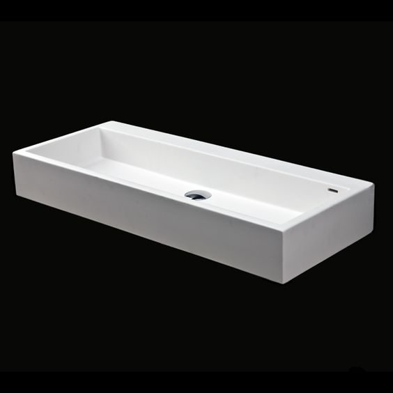 """5103 Luce Washbasin  Vessel solid surface washbasin with overflow, 36""""W x 15""""D x 6""""H, uses standard sized drain. Any number of faucet holes can be drilled, if requested at the time of order."""