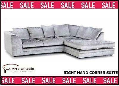 Sofa BedSleeper Sofa NEW DYLAN CRUSHED VELVET SILVER CORNER GROUP SOFA