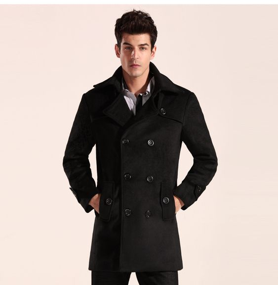 2015 New Men Trench Coat &amp Overcoat/ Long Double-Breasted Pea Coat