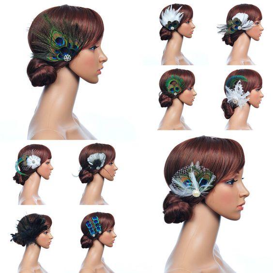 10 Styles Pfauen Feder Fascinator Kopfschmuck Haarschmuck Hochzeit Haar-Blumen