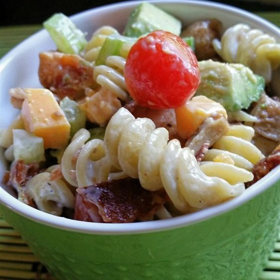 "Chicken Club Pasta Salad | ""Chicken club sandwich-style pasta! Substitute Monterey Jack cheese for the Muenster, if desired."""