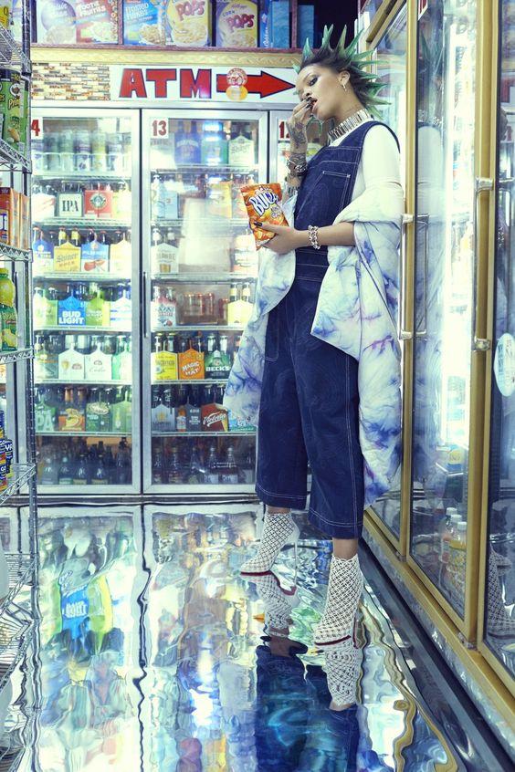 Punk Green Hair Rihanna and overalls