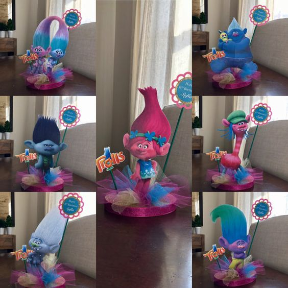 Qty trolls centerpiece or cake topper poppy branch