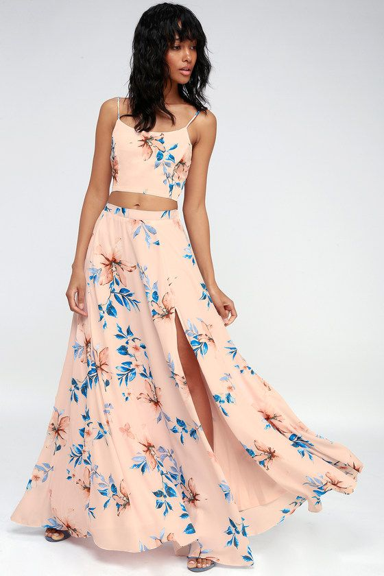 Barefoot At The Beach Light Peach Print Two Piece Maxi Dress Beach Maxi Dress Maxi Dress Two Piece Dress Casual