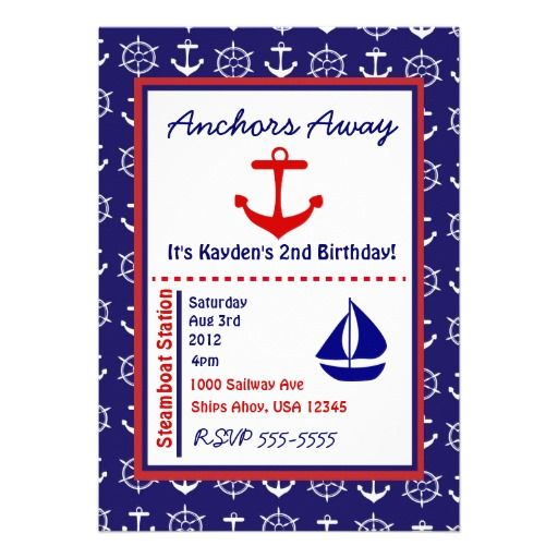Anchors Away Custom Invitation