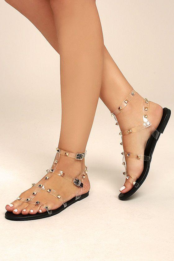 Josie Black Studded Gladiator Sandals