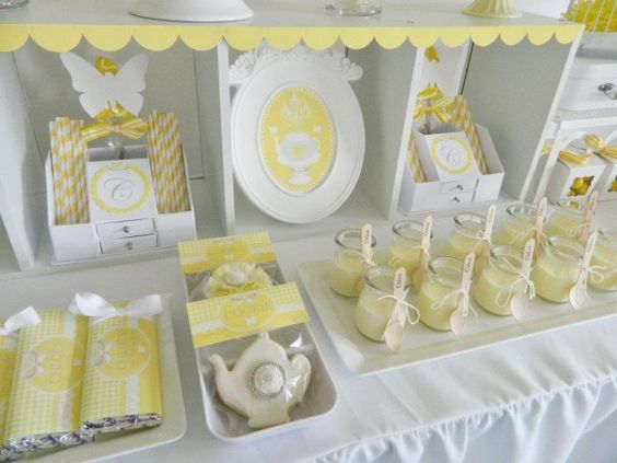 Yellow and white high tea party desserts 2
