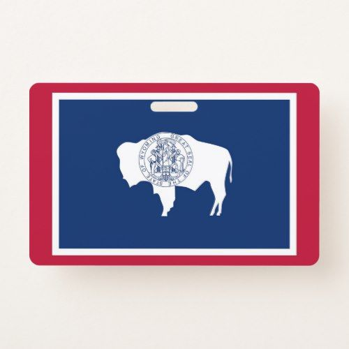 Name Badge With Flag Of Wyoming State Usa Zazzle Com Wyoming Flag State Flags Wyoming State