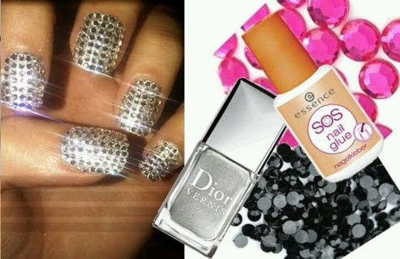 Beautiful nail idea for a blinging bride.