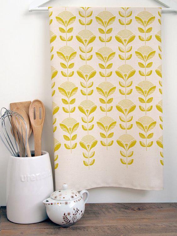 Abstract dandelion & leaf print tea towel Set of 3 by luluandluca