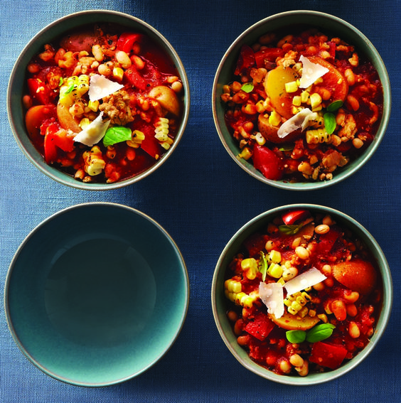 Slow-Cooker Tuscan Turkey Chili - Clean Eating - High Fiber Recipe