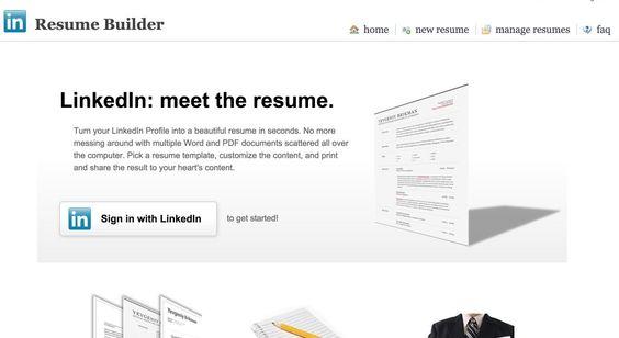 Resume Builder Faites un CV de votre profil LinkedIn - resume builder sign in