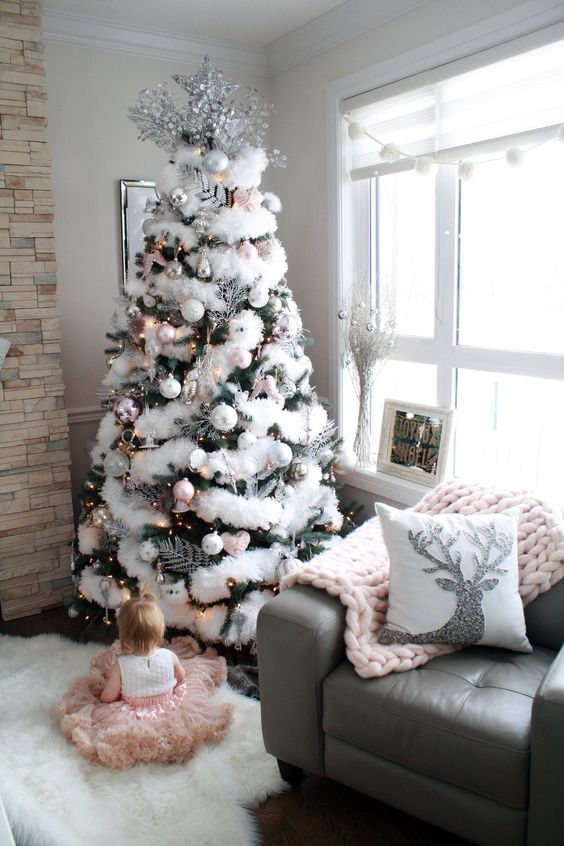 Glam Christmas home decor - white and pink Christmas tree