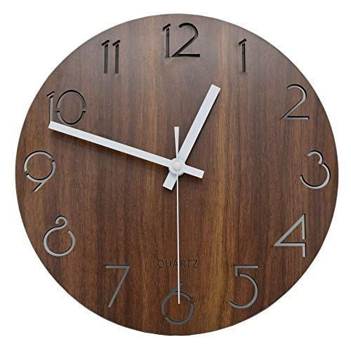 Wall Clocks 12 Inch Vintage Arabic Numeral Design Rustic Country Tuscan Style Wooden Decorative Round Wall Clock Owl Simple Giant That Dark Sale Operated Th Vintage Wall Clock Clock