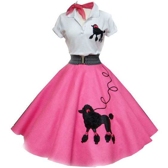 #837 Neon Pink with fancy semi-furry poodles outfit ❤ liked on Polyvore featuring costumes, dresses, 50s, halloween, cat halloween costumes, pink halloween costumes, pink cat costume, fancy halloween costumes and pink costume