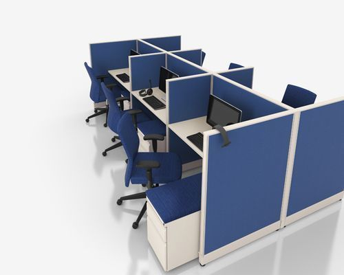 Office Cubicles System Workstation For Telemarketing 4 Feet X 4