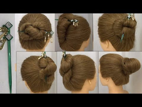 6 Easy And Beautiful Juda Hairstyle With Bun Stick Bun Hairstyles For Summer Youtube Bun Hairstyles Summer Hairstyles Hair Styles