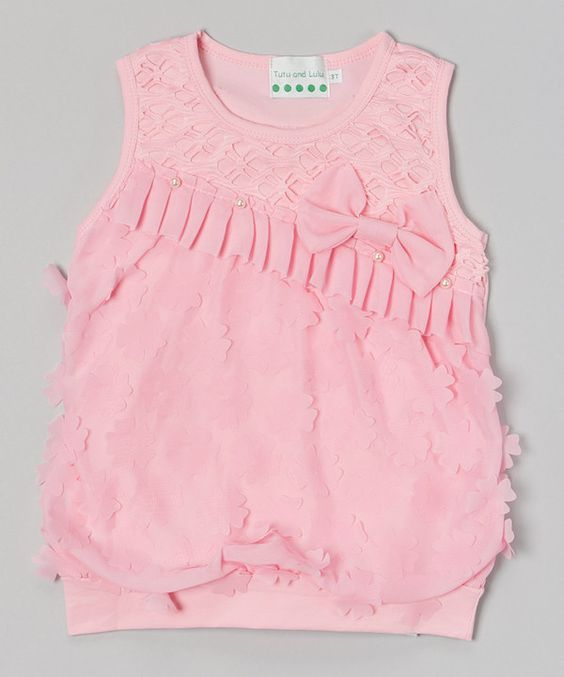 Look at this #zulilyfind! Pink Bow Pearl Ruffle Top - Infant, Toddler & Girls by Tutus by Tutu AND Lulu #zulilyfinds