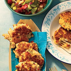 Shrimp and Corn Cakes with Heirloom Tomato Salsa - easily made gluten free