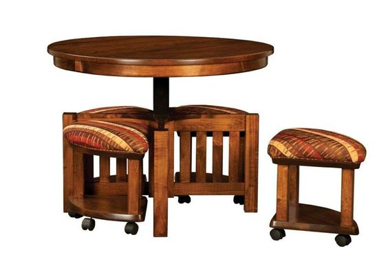 Amish Mission Round Coffee Table And Stool Set With Hydraulic Lift Amish Furniture And Round