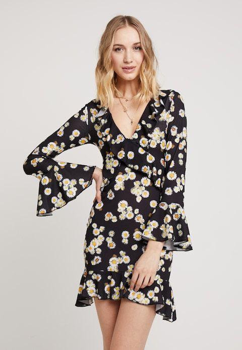 Missguided Floral Long Sleeve Tea Dress Jerseyjurk Black Zalando Be Tea Dress Dresses Casual Dress