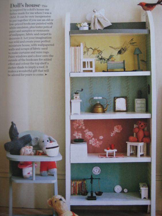 A dollhouse out of a bookshelf