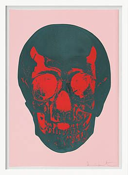 Damien Hirst, Till Death Do Us Part – Candy Floss – Pink Racing Green Pigment Red Pop Skull, 2012