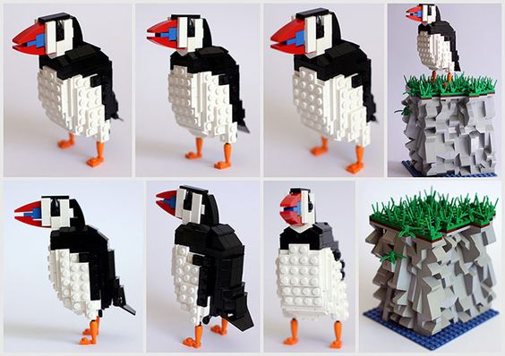Birds made from Lego - Puffin