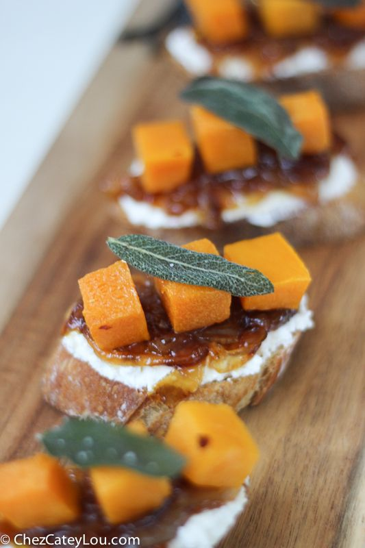 ... Squash Crostini with Ricotta, Cider Caramelized Onions, and Fried Sage