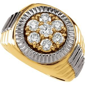 63465 / 14kt Yellow/White / 1 1/2 CT TW / Polished / TWO TONE GENTS DIAMOND RING
